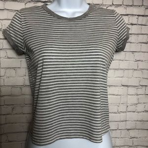 Wet Seal Gray White Striped Short Sleeve Crop Top